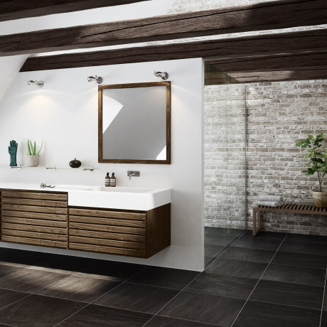 Bathroom with walnut drawer elements.