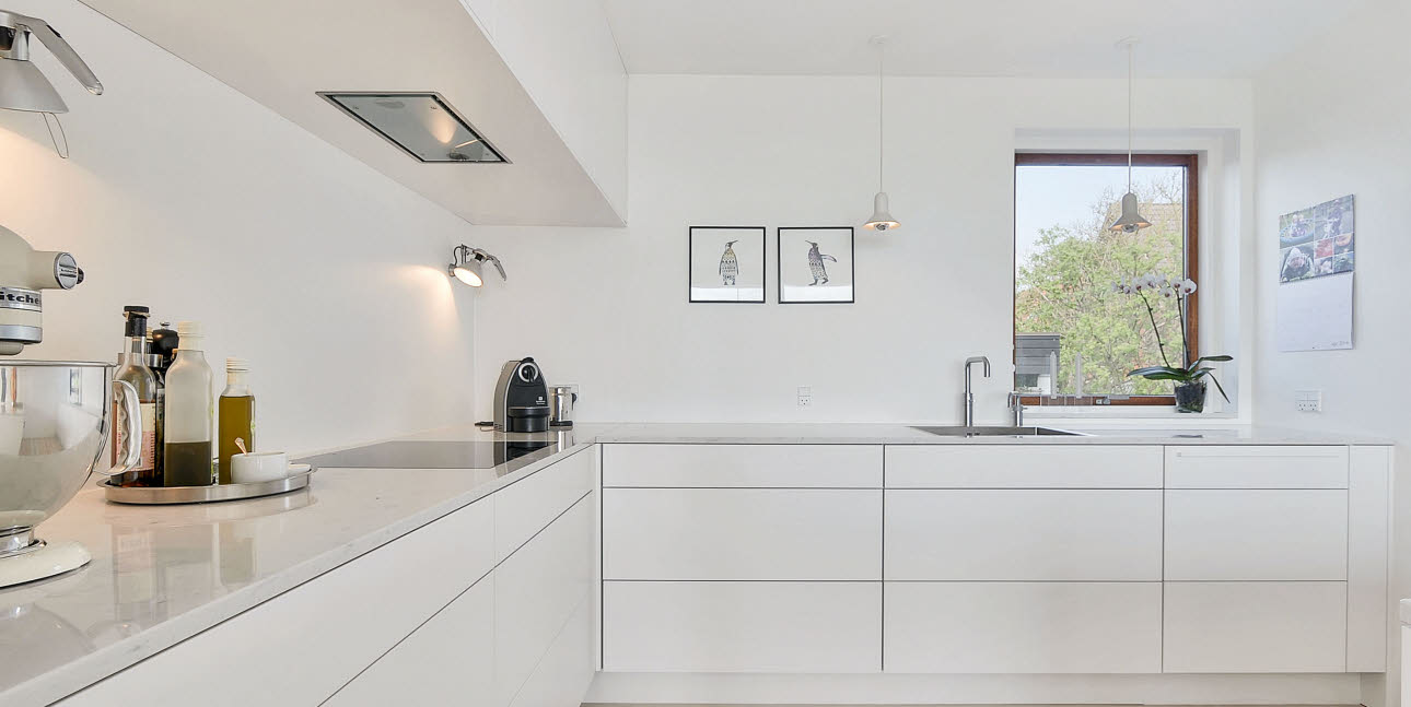 Pure, white, simple kitchen