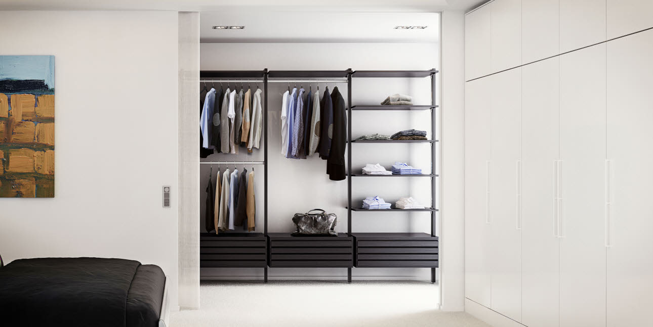 Wardrobe with discreet white appliances